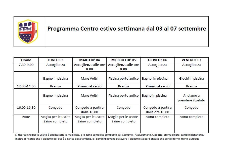 programma CE dal 3 al 7 settembre