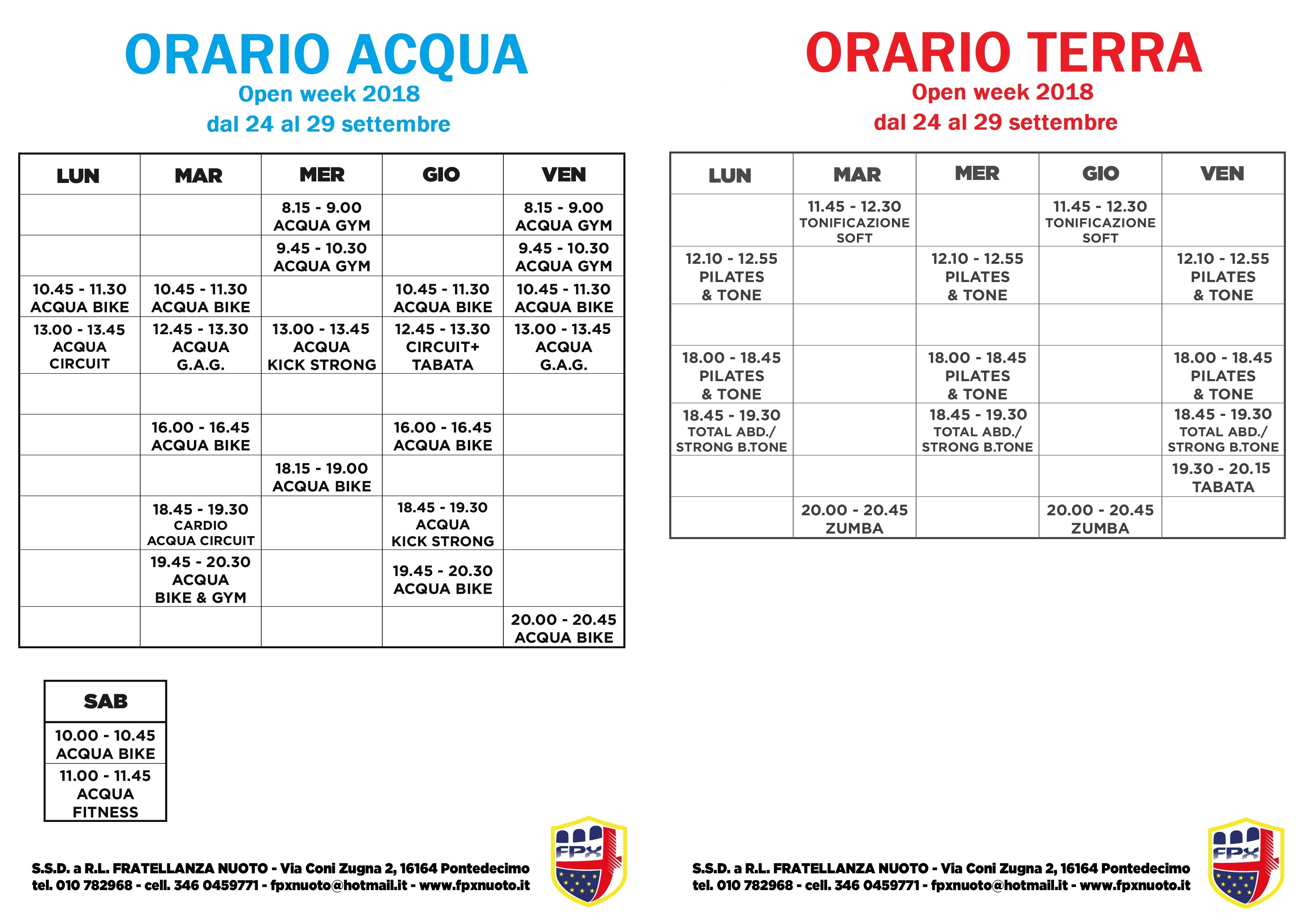 orario fitness fpx OPEN WEEK COLORATO
